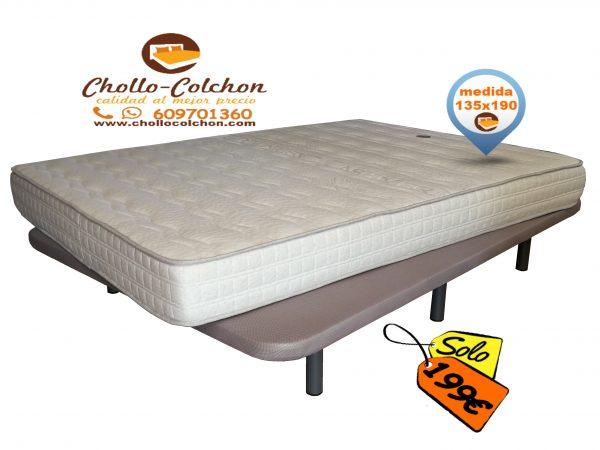 base tapizada + colchón visco