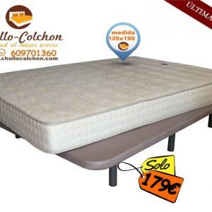 base tapizada + colchón ecobasic 120x90
