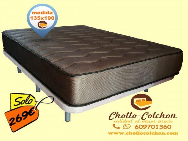 base tapizada + colchón visco carbono