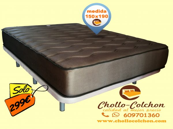 base tapizada premium + colchón visco carbono